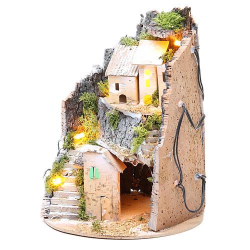 Borgo grotta presepe semitondo 10 luci 24x18 cm 6