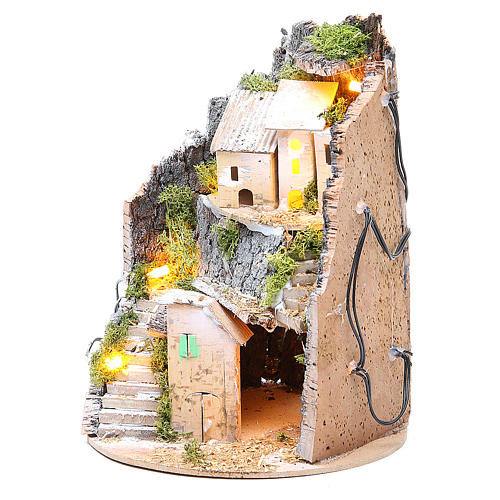 Borgo grotta presepe semitondo 10 luci 24x18 cm 2
