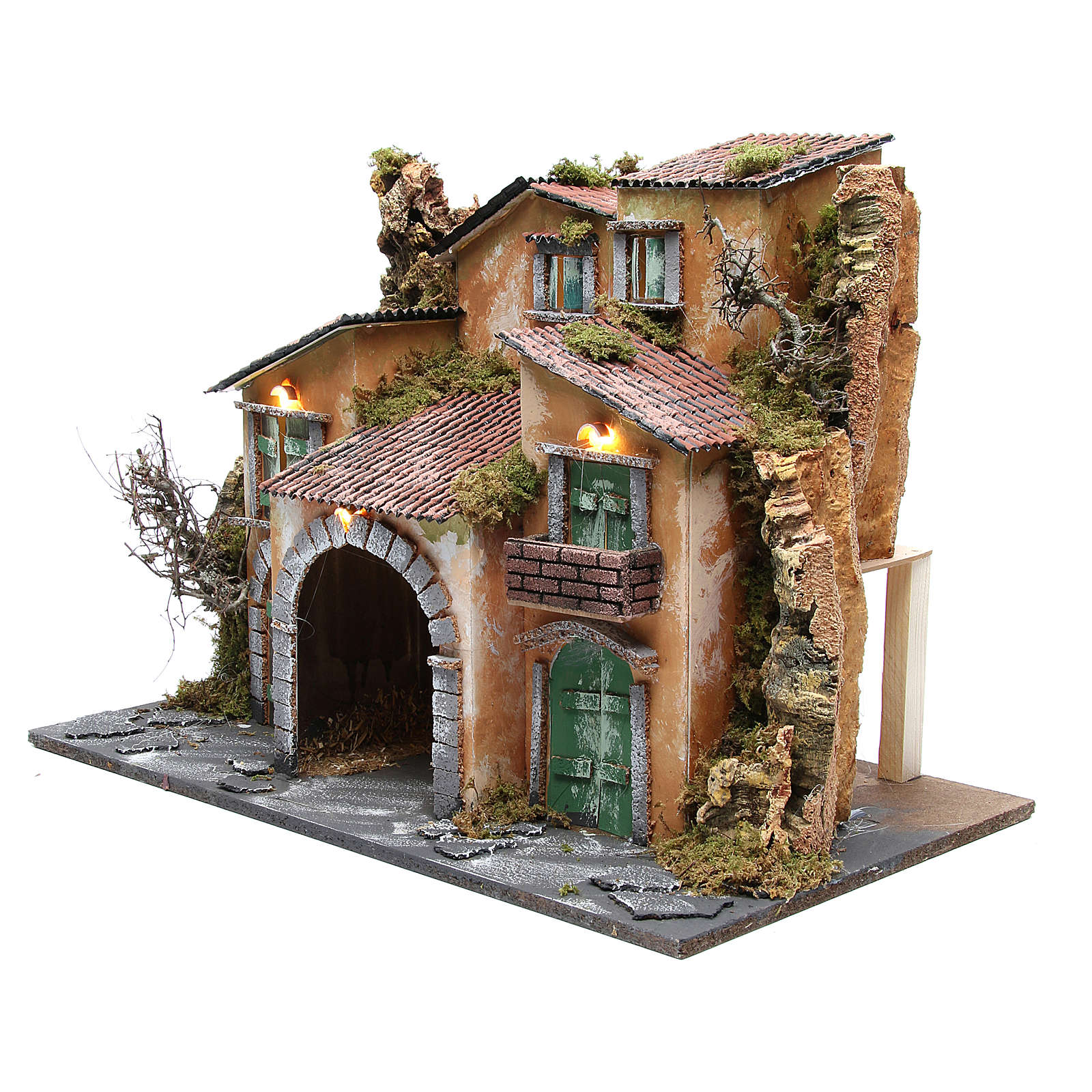Borgo con capanna 43x60x34 cm con 10 luci a batteria 4