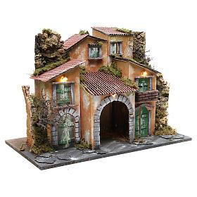 Borgo con capanna 43x60x34 cm con 10 luci a batteria s3
