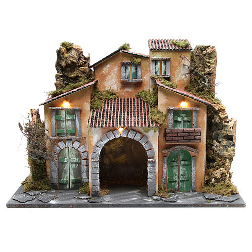 Borgo con capanna 43x60x34 cm con 10 luci a batteria 1