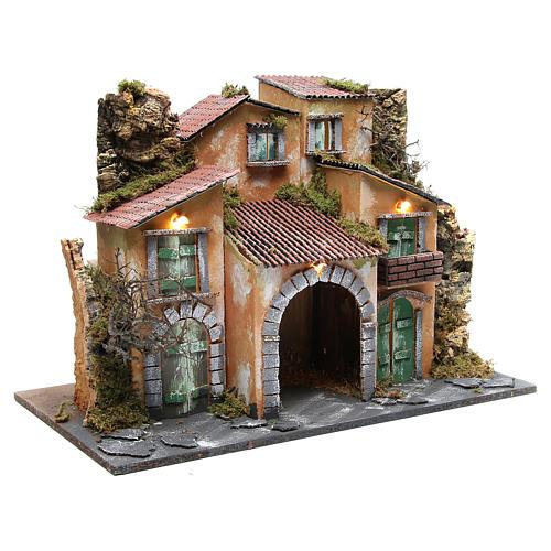 Borgo con capanna 43x60x34 cm con 10 luci a batteria 3