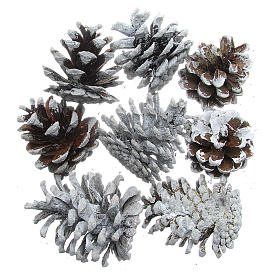 Decoraciones navideñas para la casa: Piñas nevadas set 8 piezas