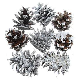 Enfeites de Natal para a Casa: Cones de pinheiro com neve conjunto 8 peças