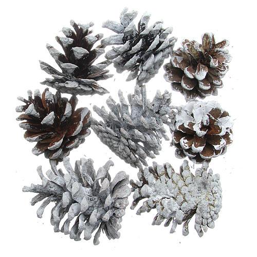 Snowy pine cones, set of 8 pieces 1