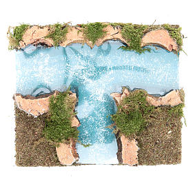 Ponts, ruisseaux, palissades pour crèche: Affluent fleuve crèche modulaire 16x13 cm