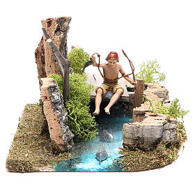Bridges, streams and fences for Nativity scene: Pond with fisherman for nativities 10x20x13cm