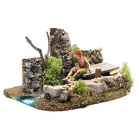 Pond with fisherman for nativities 10x20x13cm s2