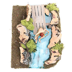 Pond with fisherman for nativities 10x20x13cm s4