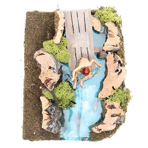 Pond with fisherman for nativities 10x20x13cm 4