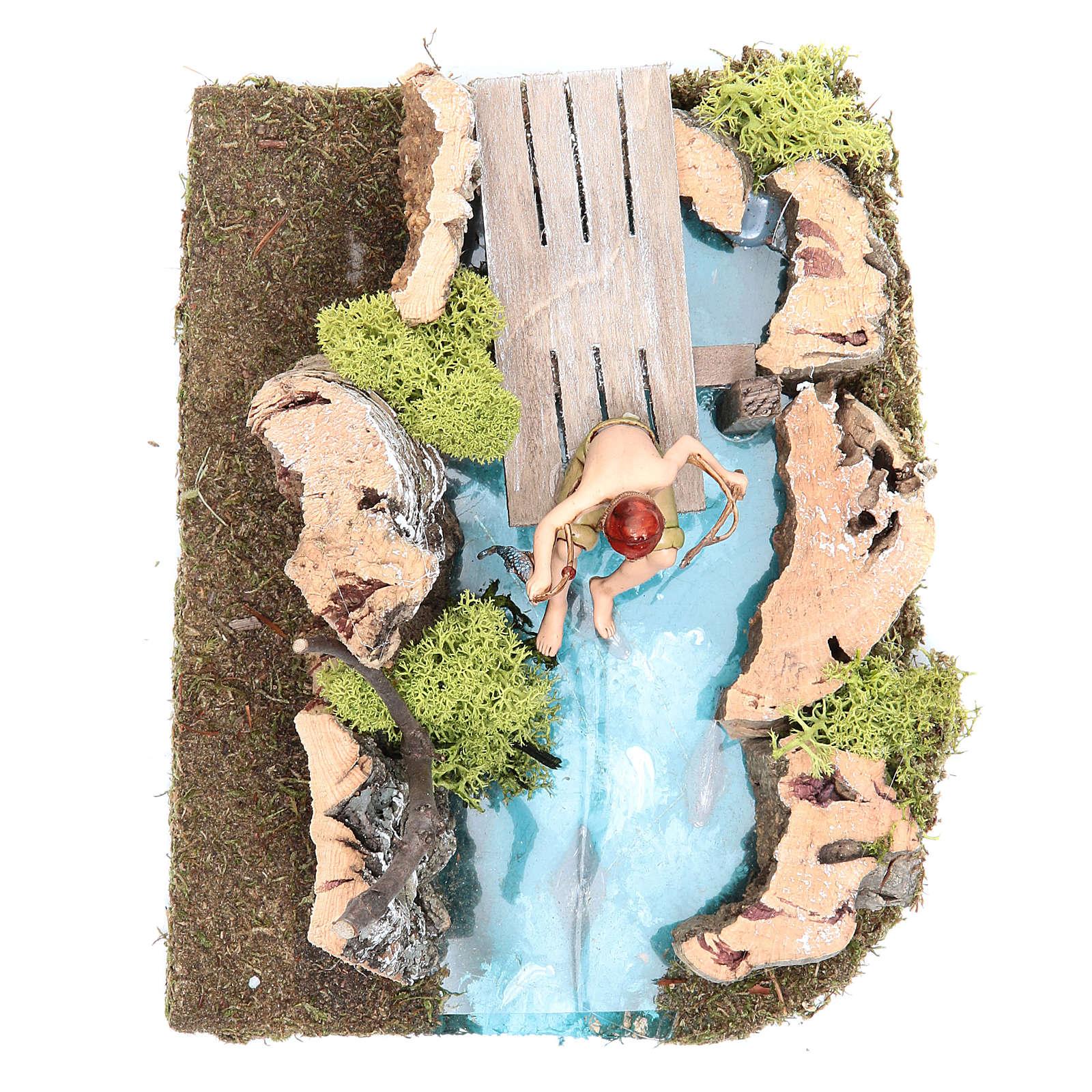 Lac avec pêcheur crèche 10x20x13 cm 4