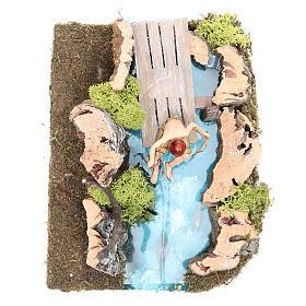 Lac avec pêcheur crèche 10x20x13 cm s4