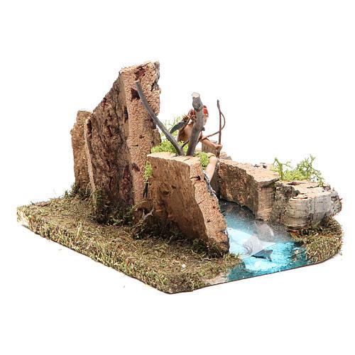 Lac avec pêcheur crèche 10x20x13 cm 3