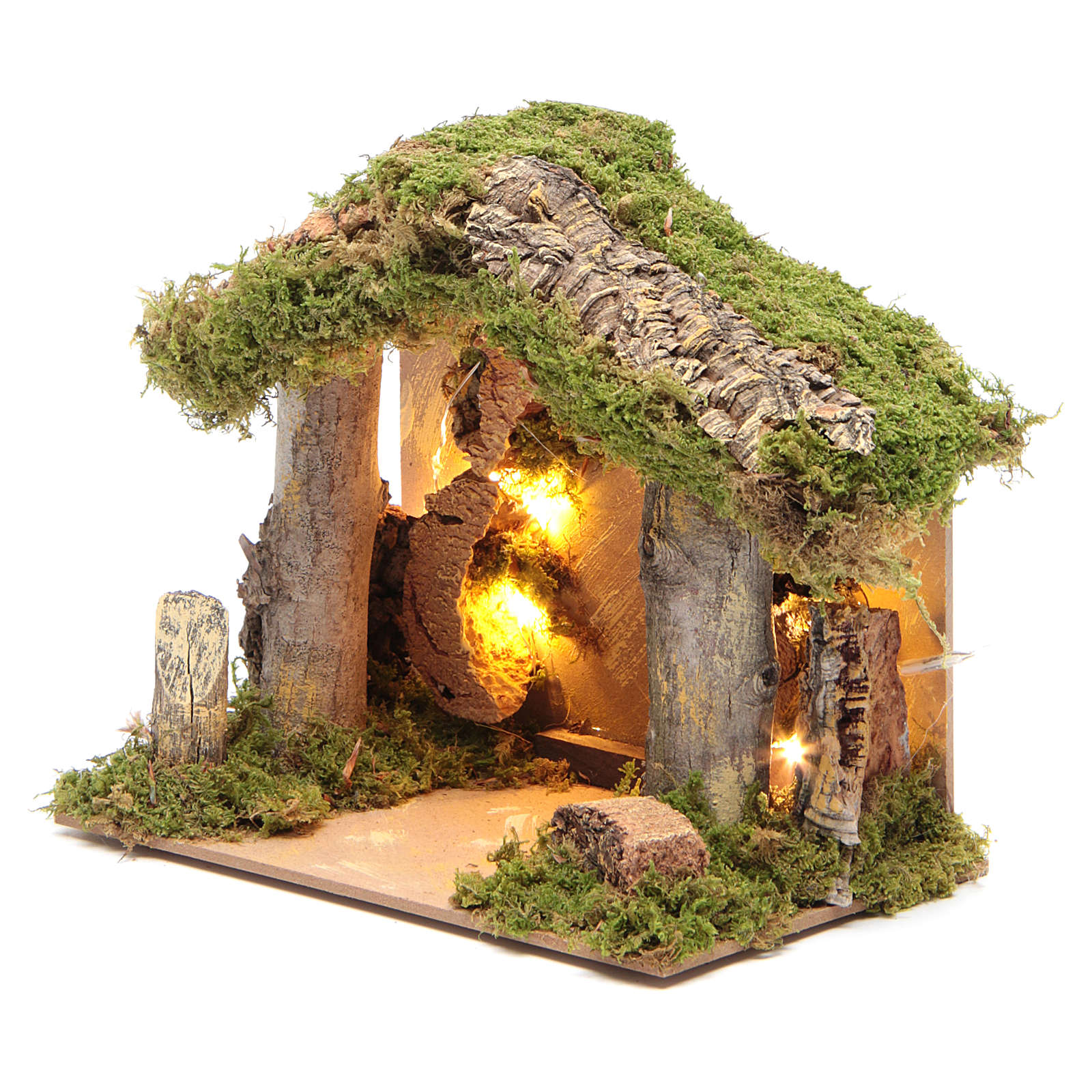 Nativity stable illuminated with 10 battery lights 17x20x14cm 4