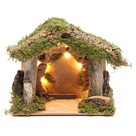 Nativity stable illuminated with 10 battery lights 17x20x14cm s1