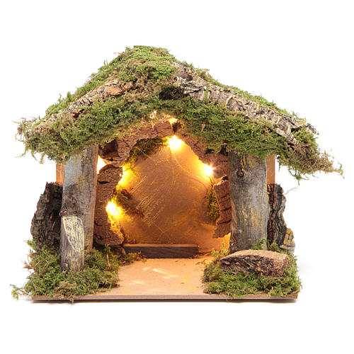 Nativity stable illuminated with 10 battery lights 17x20x14cm 1