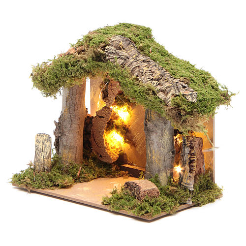 Nativity stable illuminated with 10 battery lights 17x20x14cm 2