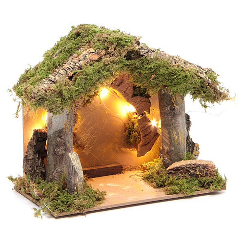 Nativity stable illuminated with 10 battery lights 17x20x14cm 3
