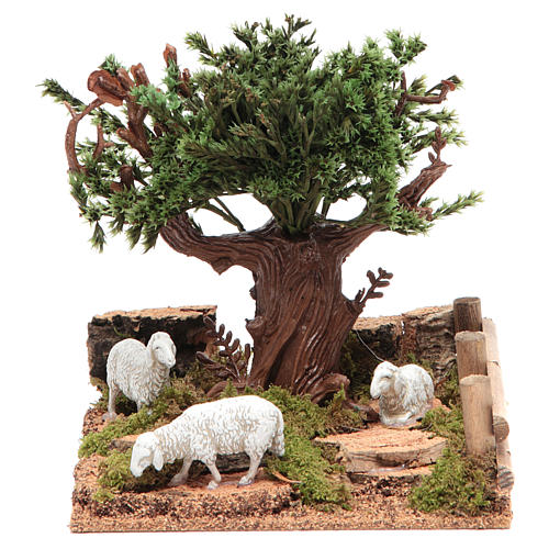 Oak on the hills with sheep for nativities 16x10x18cm 1