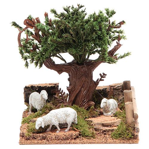 Chêne sur colline avec moutons 16x10x18 cm pour crèche 1