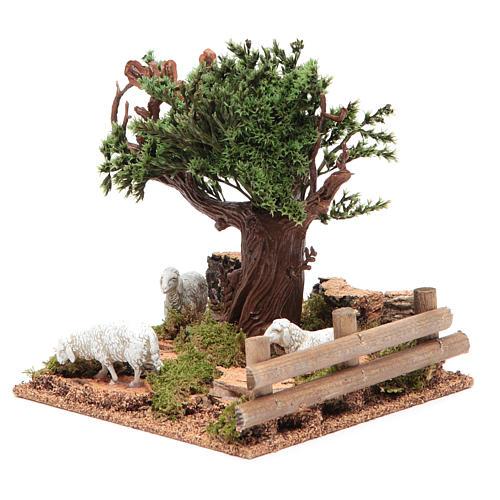 Chêne sur colline avec moutons 16x10x18 cm pour crèche 2
