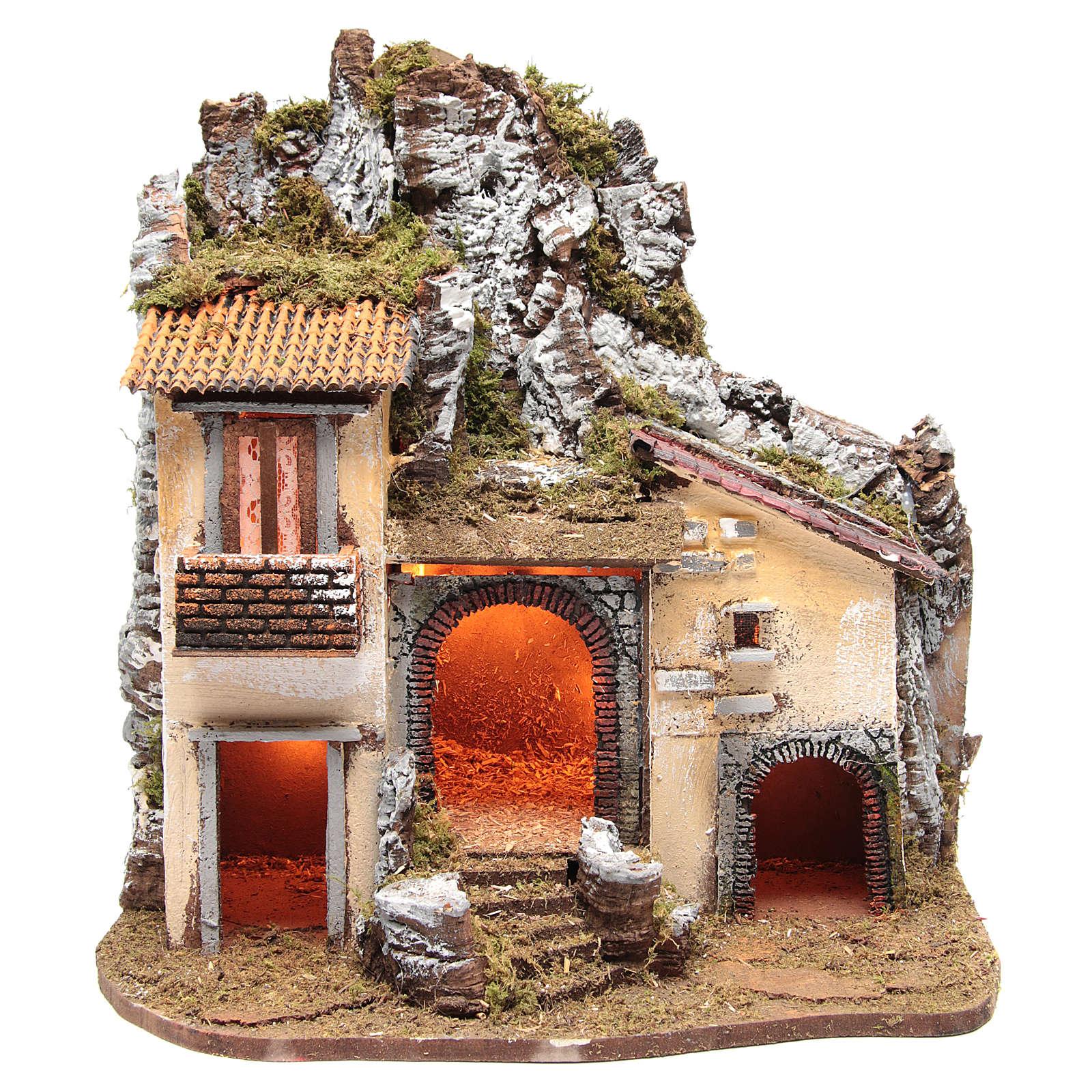 Borgo del presepe con capanna 55X50X35 cm illuminato 4