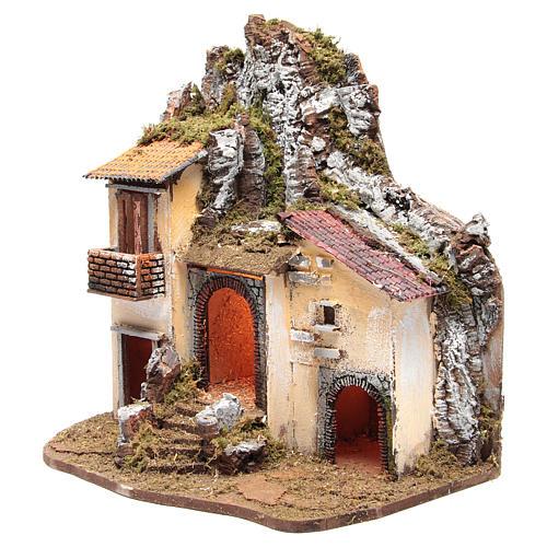Borgo del presepe con capanna 55X50X35 cm illuminato 2