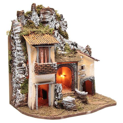 Borgo del presepe con capanna 55X50X35 cm illuminato 3