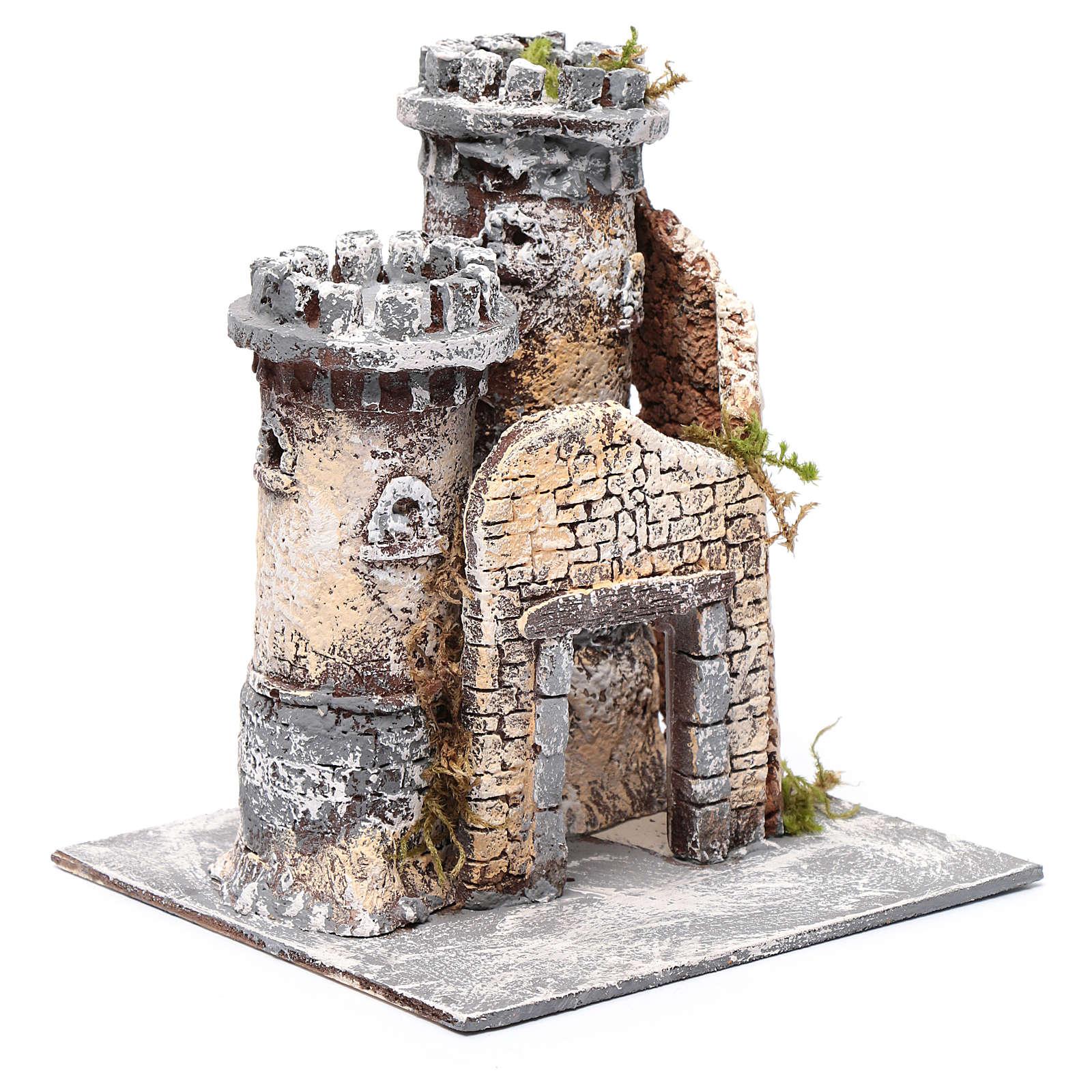 Castle in resin and cork 21x19x17cm for Neapolitan nativity 4