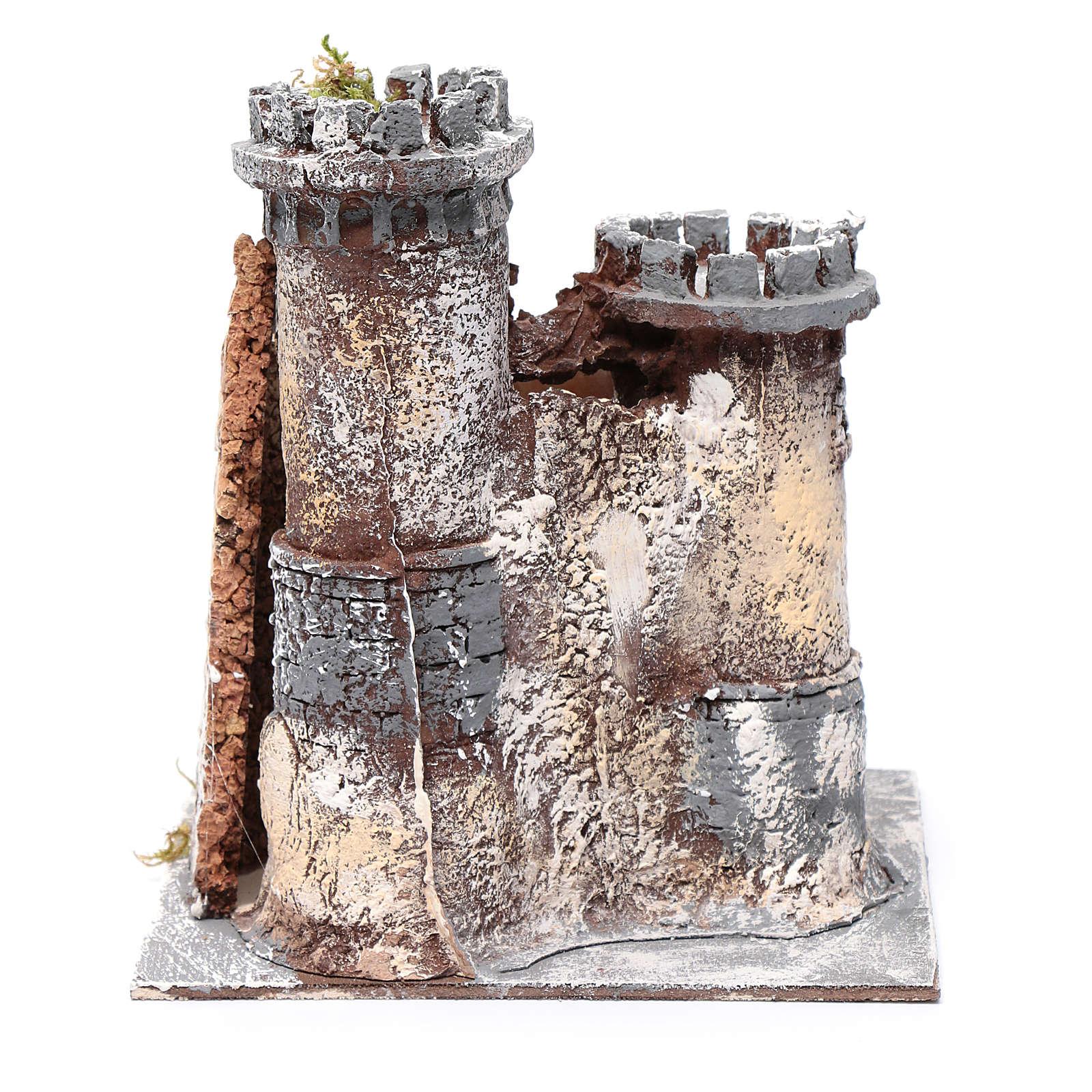 Castillo en resina y corcho belén Napolitano 21x19x17 cm. 4