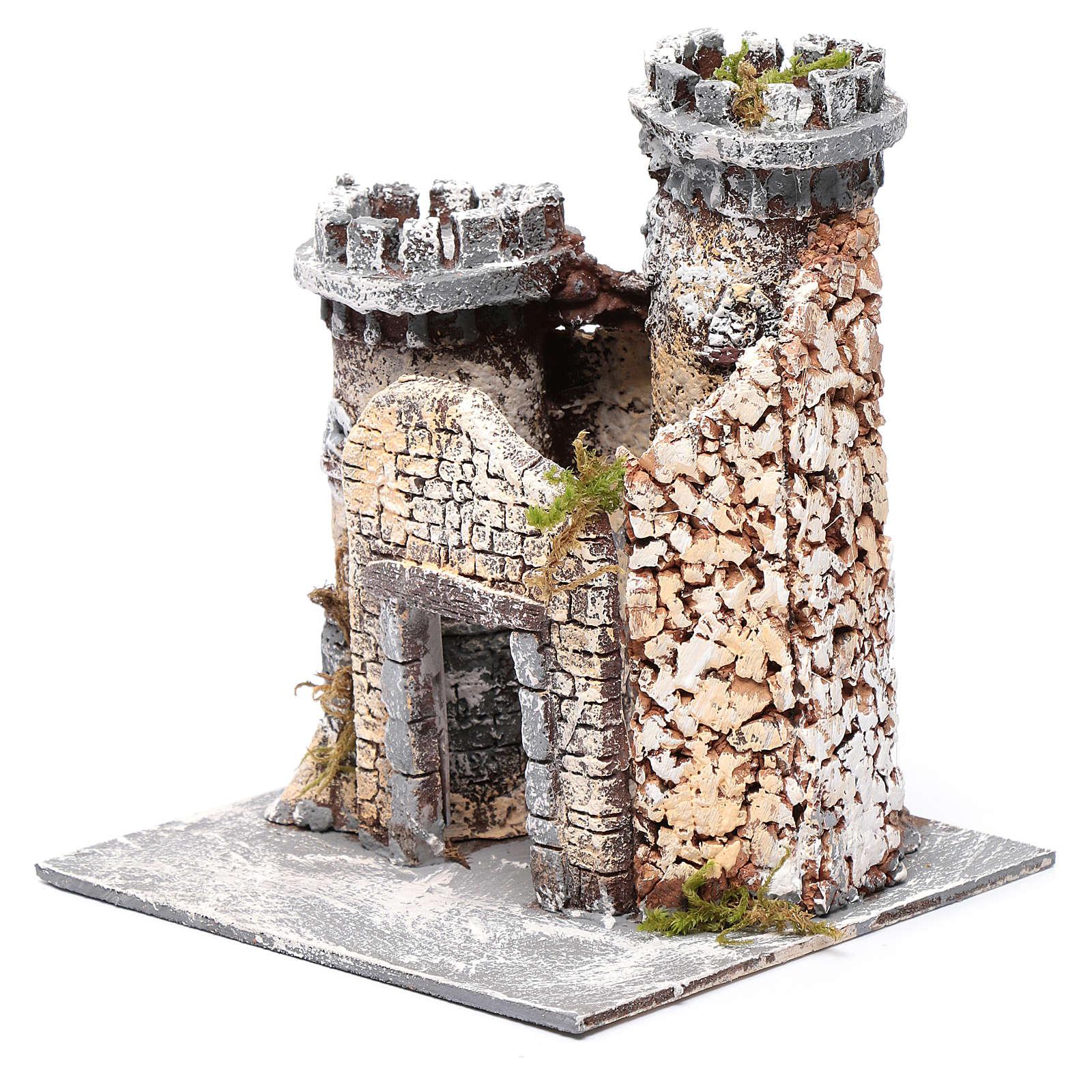 Château en résine et liège crèche napolitaine 21x19x17 cm 4