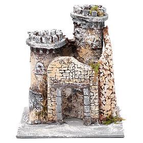 Château en résine et liège crèche napolitaine 21x19x17 cm s1