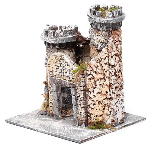 Château en résine et liège crèche napolitaine 21x19x17 cm 2