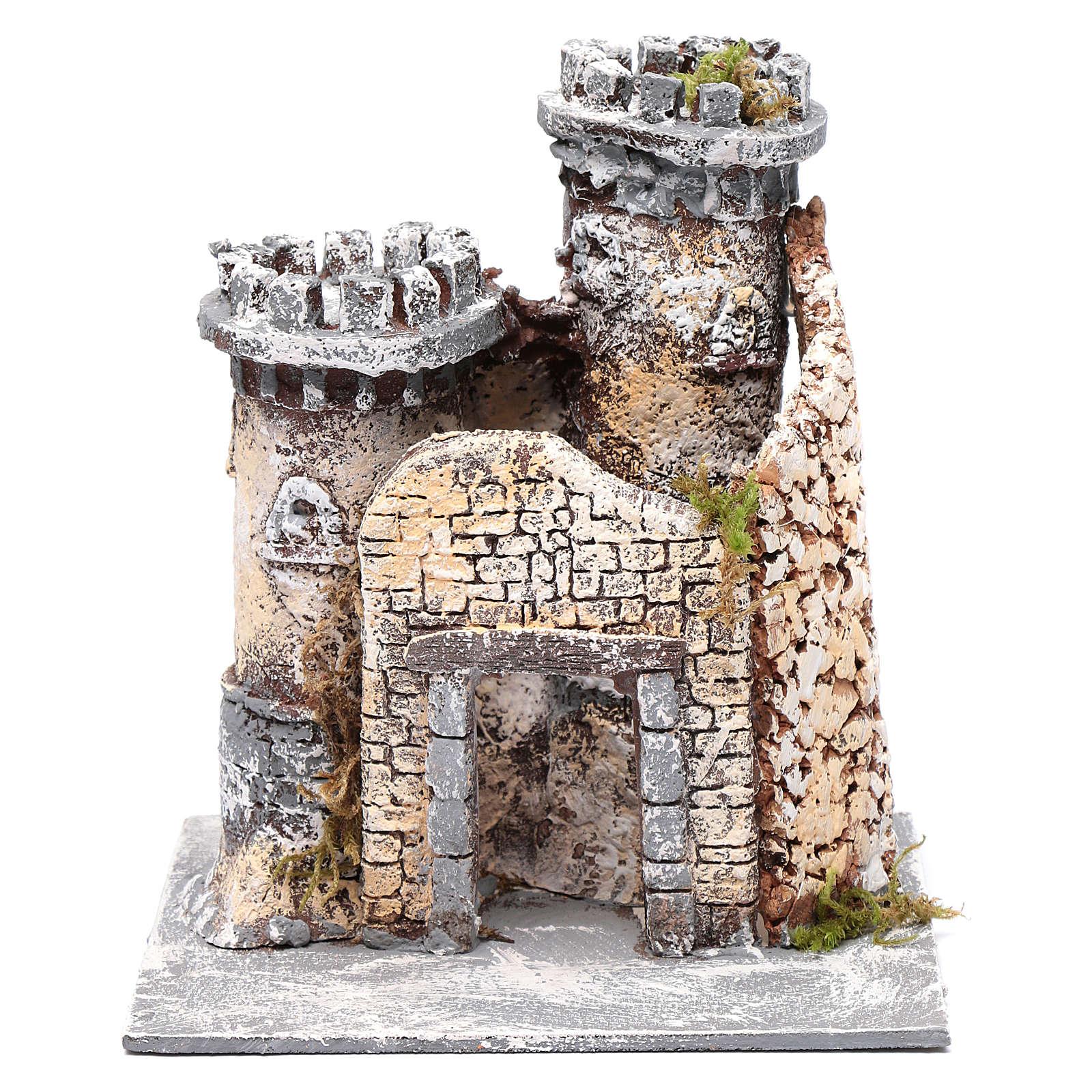 Castello in resina e sughero presepe napoletano 21x19x17 cm 4