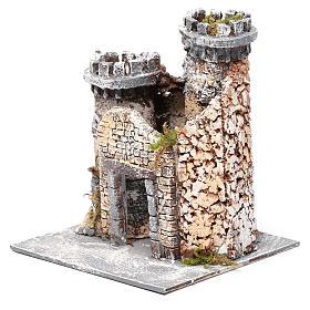 Castello in resina e sughero presepe napoletano 21x19x17 cm s2