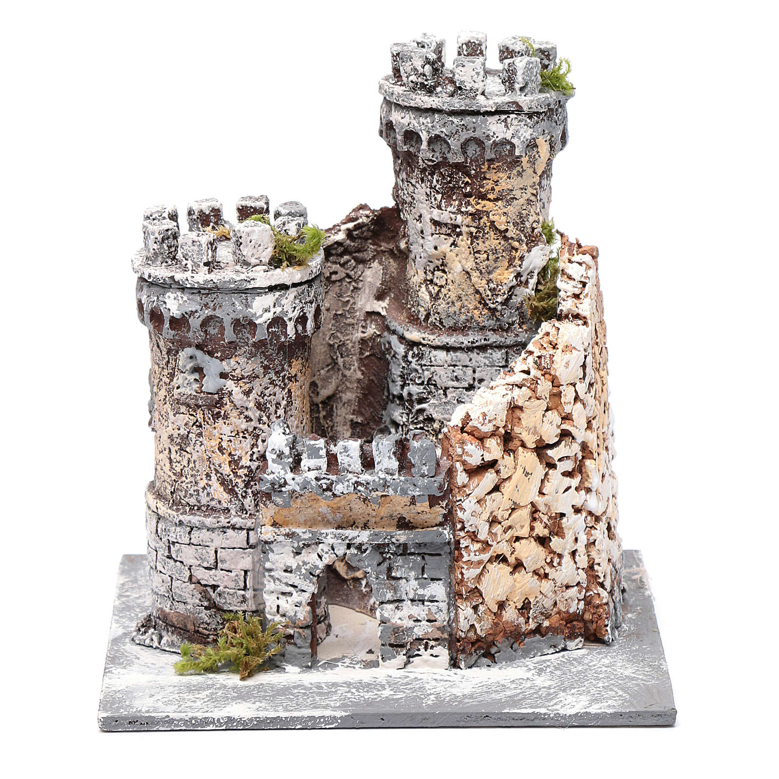 Château crèche Naples en résine et liège 17x15x15 cm 4