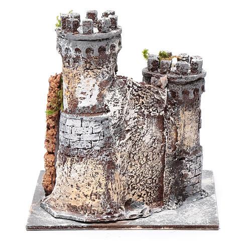 Castello presepe Napoli in resina e sughero 17x15x15 cm 4