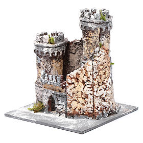 Castle in resin and cork 17x15x15cm for Neapolitan nativity s2