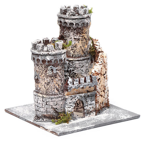 Castle in resin and cork 17x15x15cm for Neapolitan nativity 3