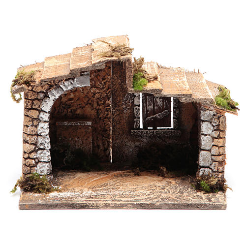 Cabane bois résine liège crèche Naples 15x20x15 cm 1