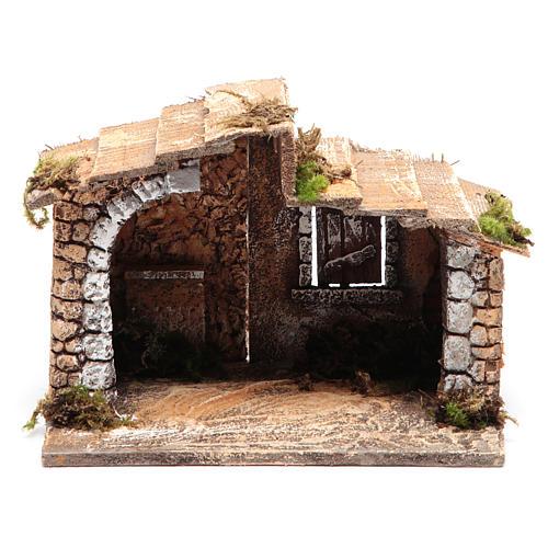 Capanna legno resina sughero presepe Napoli 15x20x15 cm 1