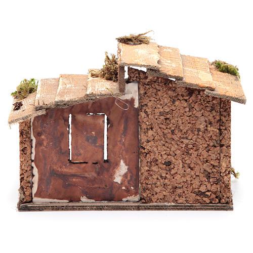 Capanna legno resina sughero presepe Napoli 15x20x15 cm 4