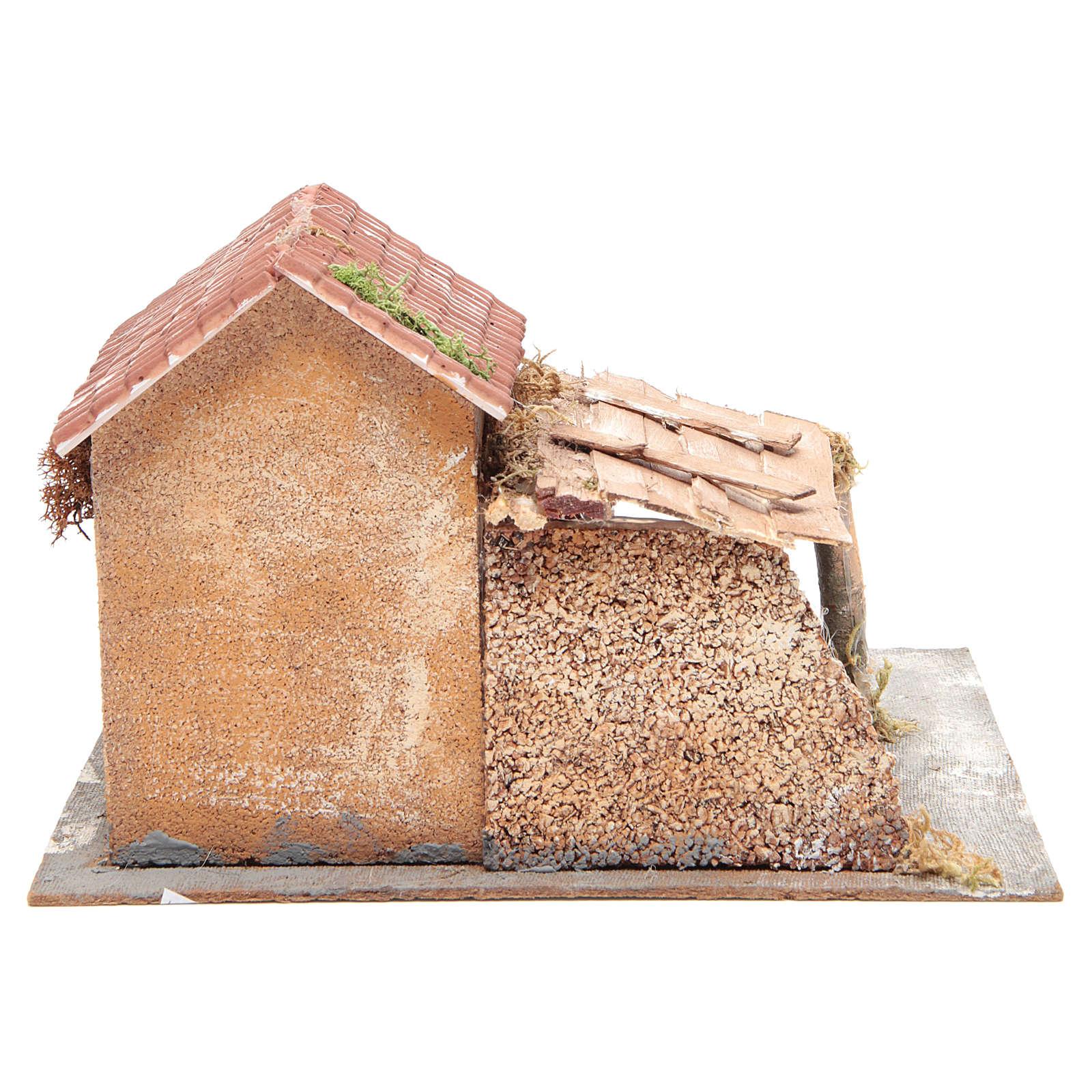 Casa en corcho y resina belén Nápoles 20x28x26 cm 4
