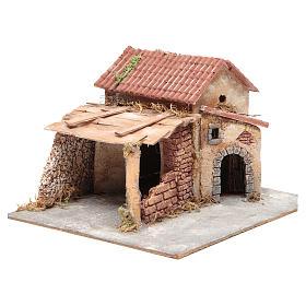 Casa en corcho y resina belén Nápoles 20x28x26 cm s3