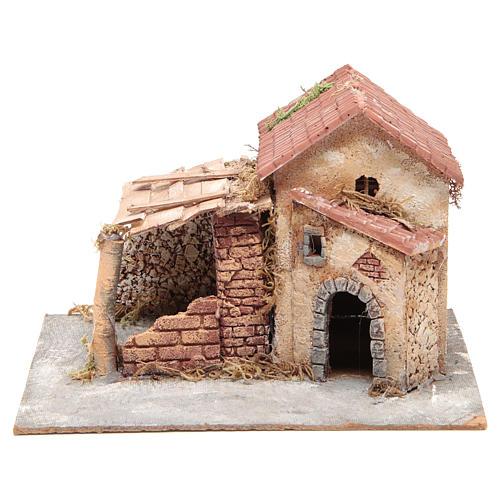 Casa en corcho y resina belén Nápoles 20x28x26 cm 1