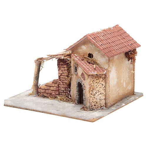 Casa en corcho y resina belén Nápoles 20x28x26 cm 2