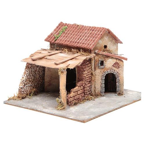 Casa en corcho y resina belén Nápoles 20x28x26 cm 3