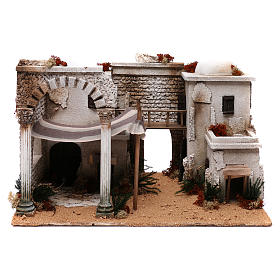 Settings, houses, workshops, wells: Arabian nativity Setting measuring 31x50x36cm