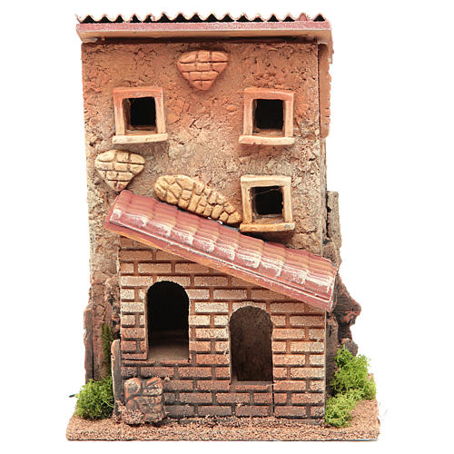 Casa con scala presepe 25x18x14 cm per 6 cm 1
