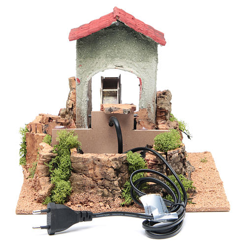 Water mill for nativities measuring 23x25x25cm 4